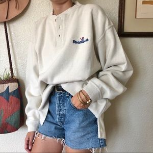Vintage 80s/90s Henley Style Oversize Pullover